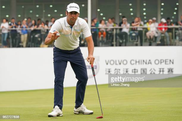 Adrian Otaegui of Spain waves his ball to the fans during the final round of the 2018 Volvo China Open at Topwin Golf and Country Club on April 29...