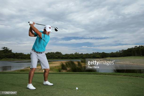 Adrian Oteagui of Spain poses on the 3rd hole during the ProAm of the ISPS Handa World Super 6 Perth at Lake Karrinyup Country Club on February 13...