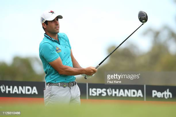 Adrian Oteagui of Spain watches his tee shot on the 3rd hole during the ProAm of the ISPS Handa World Super 6 Perth at Lake Karrinyup Country Club on...