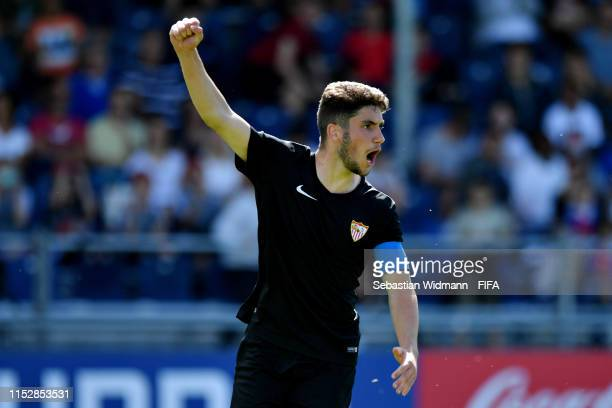 Adrian Peral Gallardo of FC Sevilla celebrates scoring his sides first goal from the penalty spot in the seventh place playoff match between FC Basel...