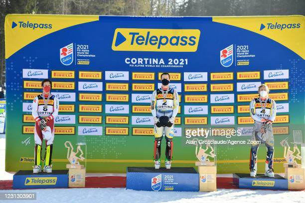 Adrian Pertl of Austria wins the silver medal, Sebastian Foss-solevaag of Norway wins the gold medal, Henrik Kristoffersen of Norway wins the bronze...