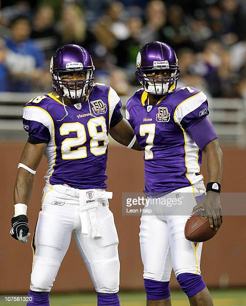 Adrian Peterson and Tavaris Jackson of the Minnesota Vikings prior to the start of the game against the New York Giants on December 13 2010 in...
