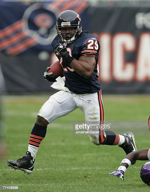Adrian Peterson of the Chicago Bears runs against the Minnesota Vikings on October 14 2007 at Soldier Field in Chicago Illinois The Vikings defeated...