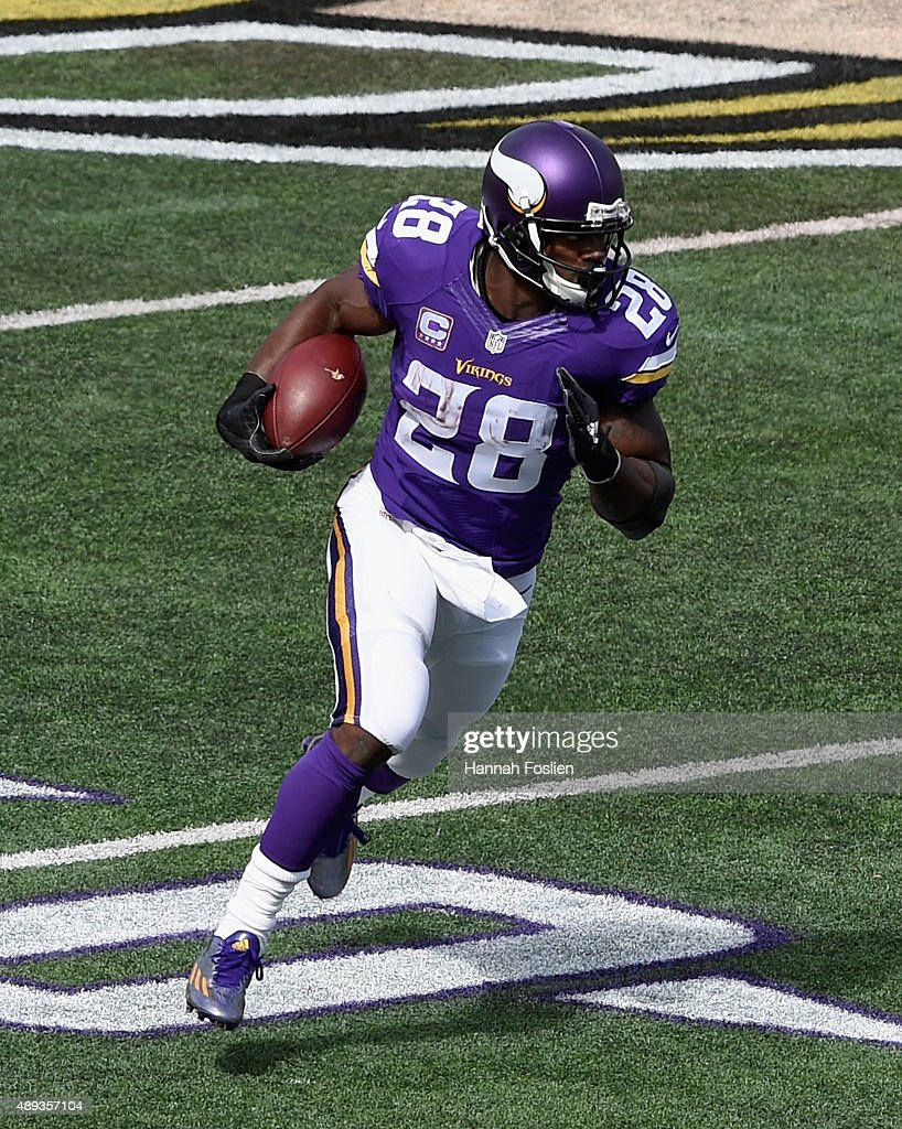Adrian Peterson #28 of the Minnesota Vikings carries the ball against the Detroit Lions during the first quarter of the game on September 20, 2015 at TCF Bank Stadium in Minneapolis, Minnesota. The Vikings defeated the Lions 26-16.