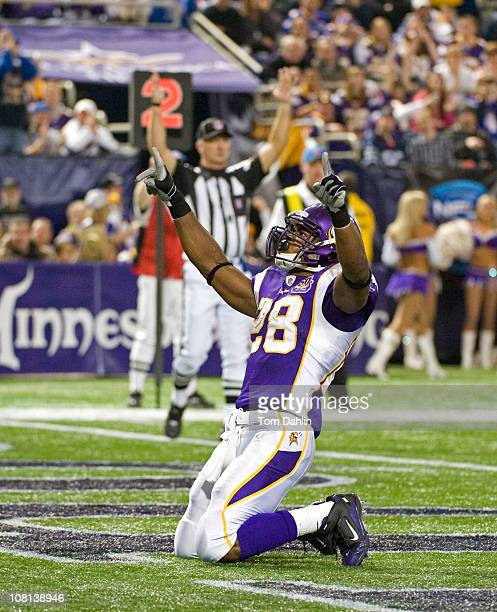 Adrian Peterson of the Minnesota Vikings celebrates during an NFL game against the Buffalo Bills at Mall of America Field at the Hubert H Humphrey...