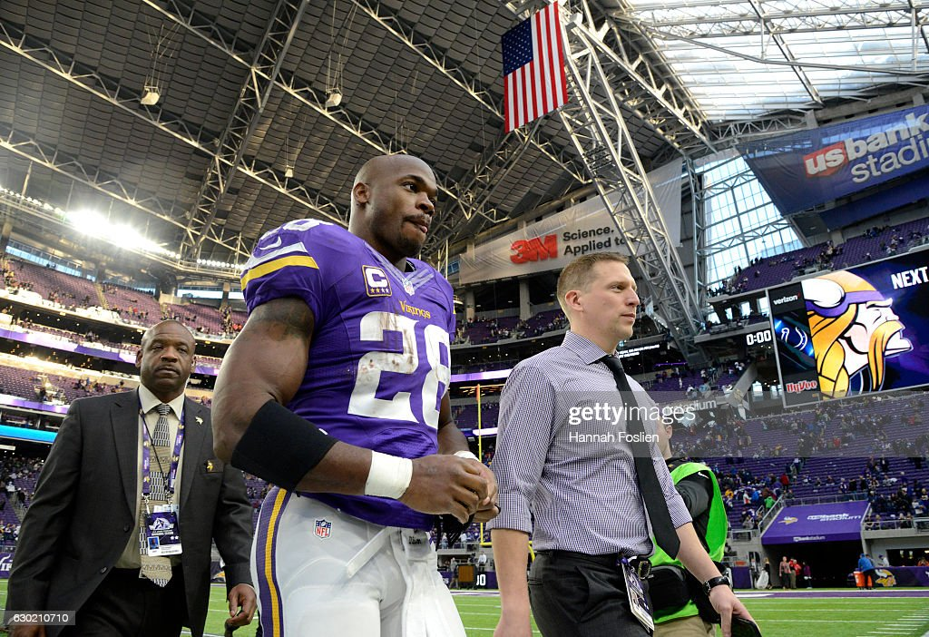 Adrian Peterson #28 of the Minnesota Vikings heads into the locker room after the game against the Indianapolis Colts on December 18, 2016 at US Bank Stadium in Minneapolis, Minnesota. The Colts defeated the Vikings 34-6.