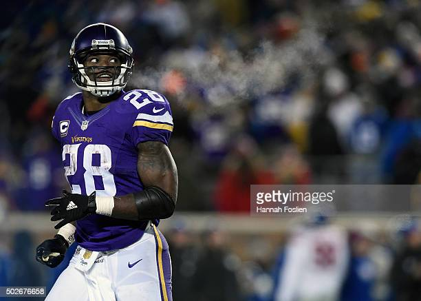 Adrian Peterson of the Minnesota Vikings looks on after scoring a touchdown against the New York Giants during the third quarter of the game on...