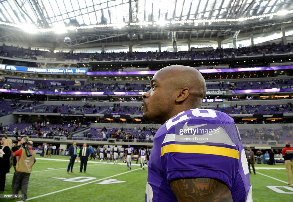 Adrian Peterson #28 of the Minnesota Vikings on field after the game against the Indianapolis Colts on December 18, 2016 at US Bank Stadium in Minneapolis, Minnesota. The Colts defeated the Vikings 34-6.