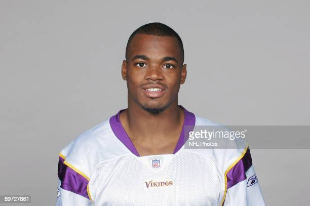 Adrian Peterson of the Minnesota Vikings poses for his 2009 NFL headshot at photo day in Minneapolis Minnesota