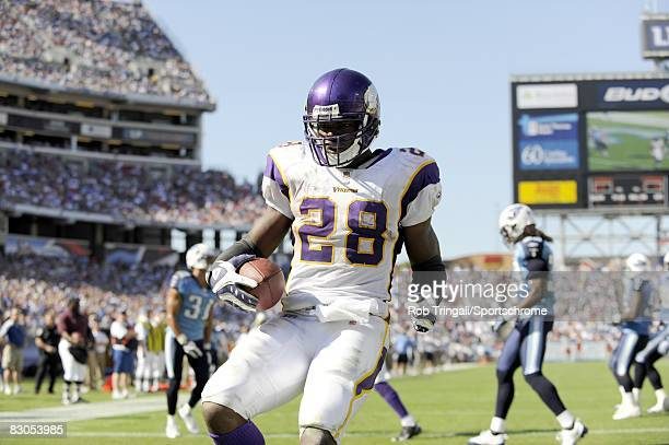 Adrian Peterson of the Minnesota Vikings rushes for a touchdown in the 4th quarter against the Tennessee Titans on September 28 2008 at LP Stadium in...