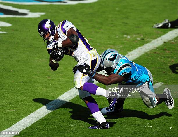 Adrian Peterson of the Minnesota Vikings scores a touchdown against Charles Johnson of the Carolina Panthers at Bank of America Stadium on October 30...