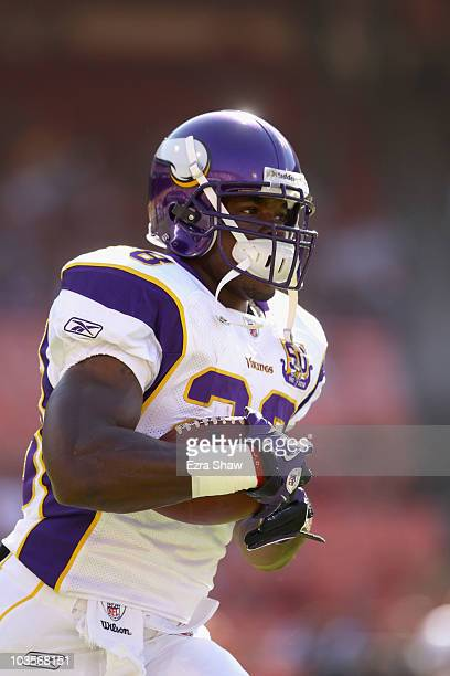 Adrian Peterson of the Minnesota Vikings warms up before their preseason game against the San Francisco 49ers at Candlestick Park on August 22 2010...
