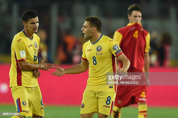 Adrian Popa of Romania celebrates after he scored 10 against Montenegro during the World Cup 2018 football qualification match between Romania and...