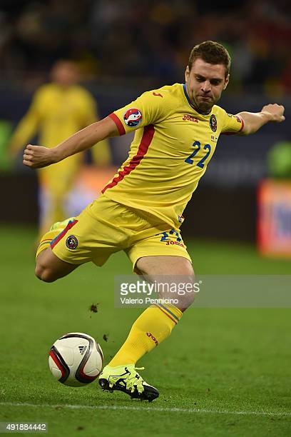 Adrian Popa of Romania in action during the UEFA EURO 2016 Qualifier between Romania and Finland on October 8 2015 in Bucharest Romania