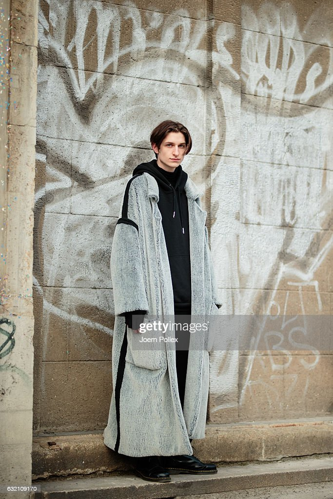 Adrian poses for photographs during the Mercedes-Benz Fashion Week Berlin A/W 2017 at Kaufhaus Jandorf on January 19, 2017 in Berlin, Germany.