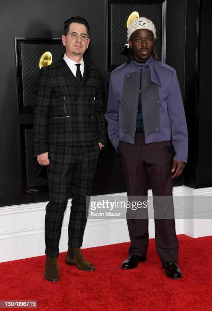 Adrian Quesada and Eric Burton of Black Pumas attend the 63rd Annual GRAMMY Awards at Los Angeles Convention Center on March 14, 2021 in Los Angeles,...