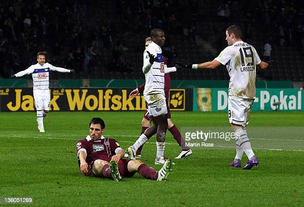Adrian Ramos of Berlin celebrate with team mate Pierre Michel Lasogga after he scores his team's opening goal during the DFB Cup round of sixteen...
