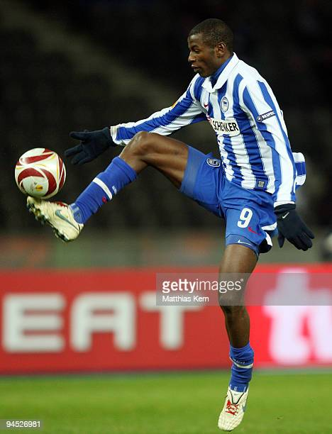 Adrian Ramos of Berlin in action during the UEFA Europa League match between Hertha BSC Berlin and Sporting Lissabon at Olympic stadium on December...