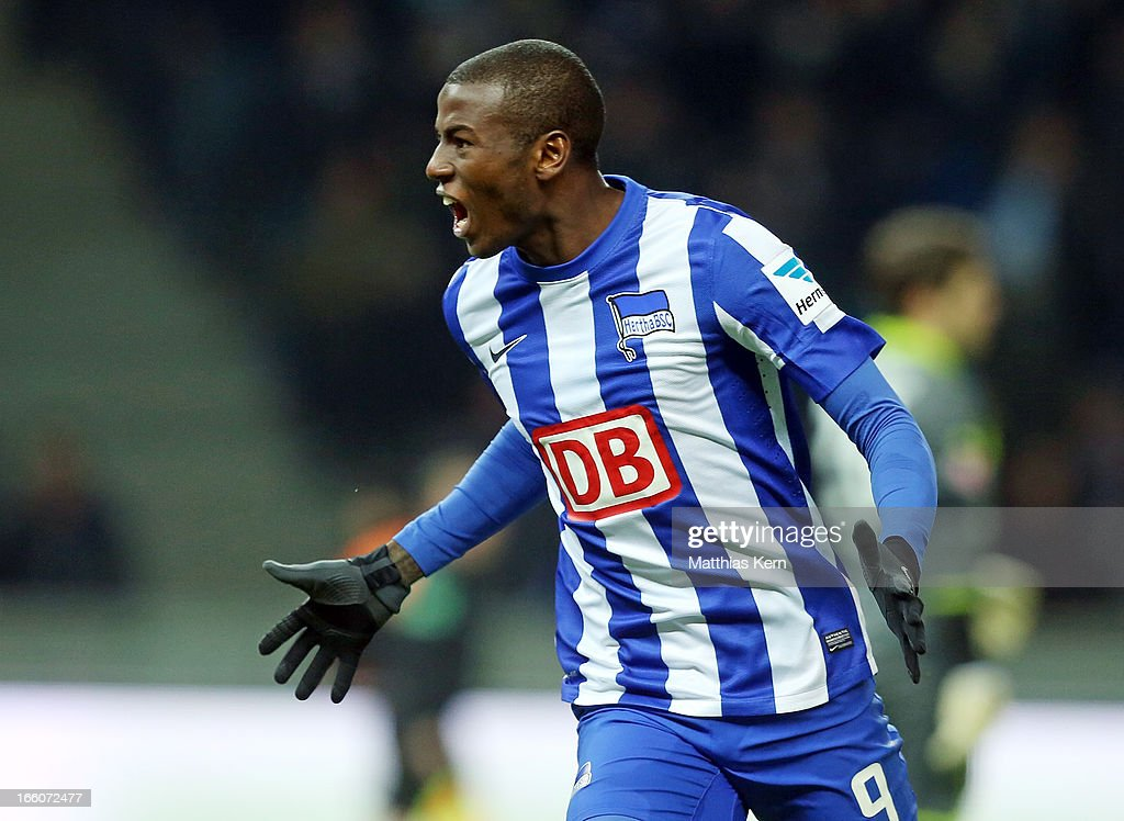 Adrian Ramos of Berlin jubilates after scoring the second goal during the Second Bundesliga match between Hertha BSC Berlin and Eintracht Braunschweig at Olympic stadium on April 8, 2013 in Berlin, Germany.