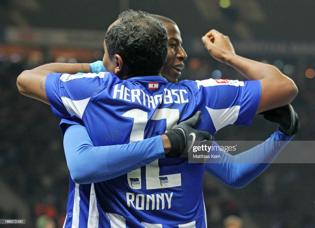 Adrian Ramos (R) of Berlin jubilates with team mate Ronny (L) after scoring the second goal during the Second Bundesliga match between Hertha BSC Berlin and Eintracht Braunschweig at Olympic stadium on April 8, 2013 in Berlin, Germany.