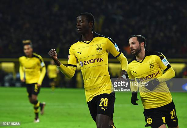 Adrian Ramos of Borussia Dortmund celebates with team mates Gonzalo Castro as he scores their fourth goal during the Bundesliga match between...