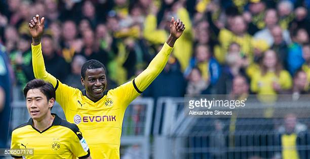 Adrian Ramos of Borussia Dortmund celebrates after scoring the goal to the 20 together with his team mate Shinji Kagawa during the Bundesliga match...