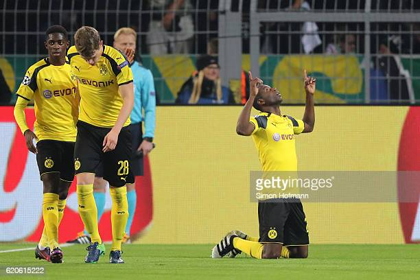 Adrian Ramos of Borussia Dortmund celebrates scoring his sides first goal during the UEFA Champions League Group F match between Borussia Dortmund...
