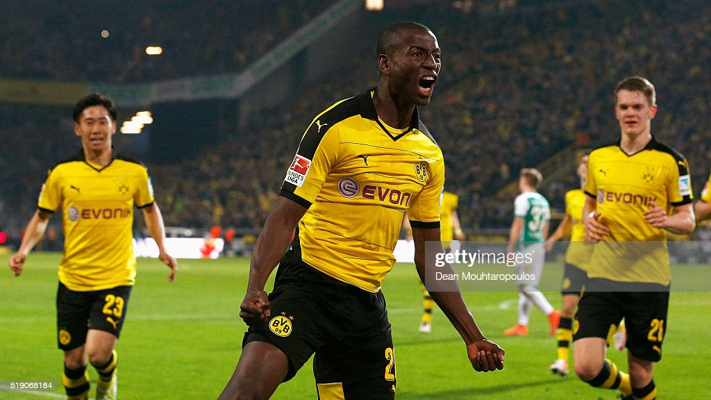 Adrian Ramos of Borussia Dortmund celebrates scoring his team's third goal during the Bundesliga match between Borussia Dortmund and Werder Bremen at Signal Iduna Park on April 2, 2016 in Dortmund, Germany.
