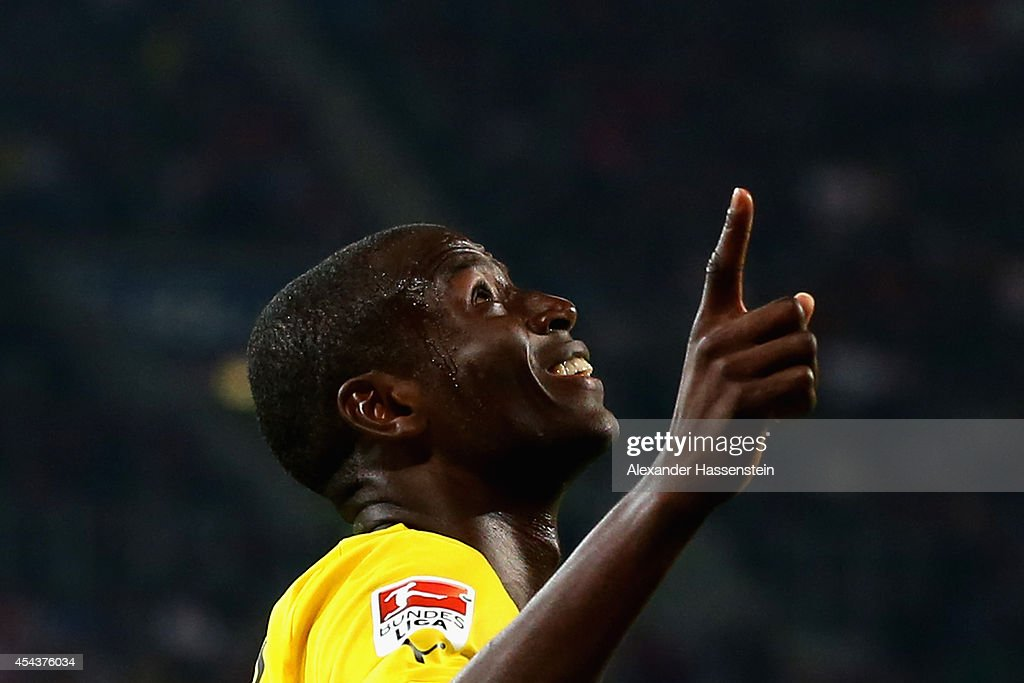 Adrian Ramos of Borussia Dortmund celebrates scoring their third goal during the Bundesliga match between FC Augsburg and Borussia Dortmund at SGL Arena on August 29, 2014 in Augsburg, Germany.