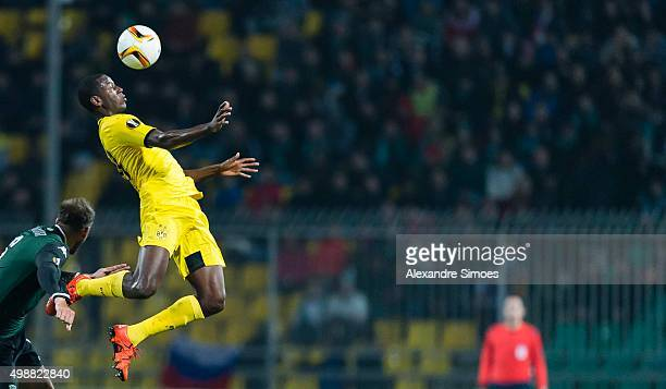 Adrian Ramos of Borussia Dortmund challenges Andreas Granqvist of FC Krasnodar during the UEFA Europa League Group C match between FC Krasnodar and...