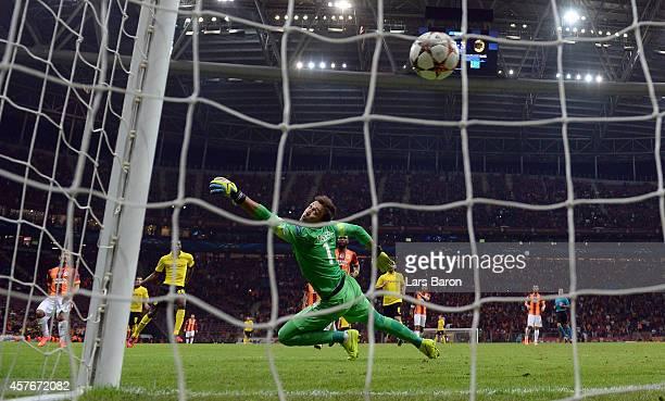 Adrian Ramos of Borussia Dortmund scores his team's fourth goalduring UEFA Champions League Group D match between Galatasaray and Borussia Dortmund...