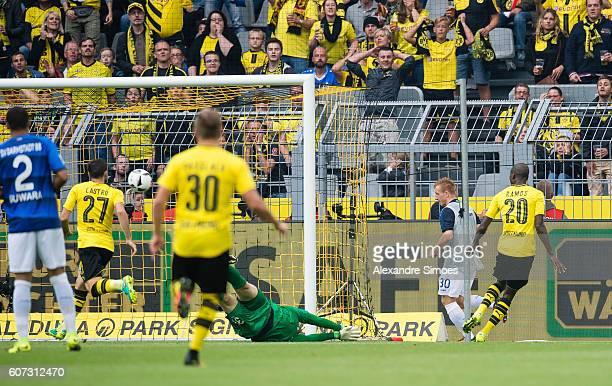 Adrian Ramos of Borussia Dortmund scores the 3rd goal during the Bundesliga match between Borussia Dortmund and SV Darmstadt 98 at Signal Iduna Park...
