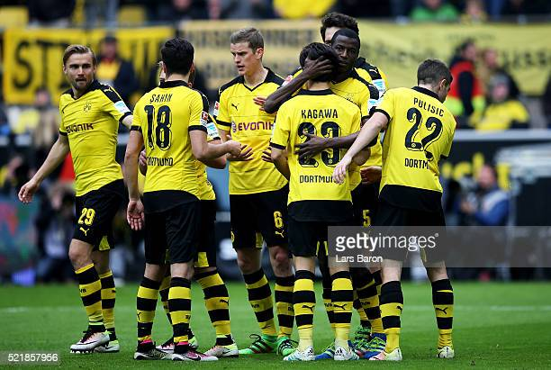 Adrian Ramos of Dortmund celebrates after scoring his teams third goal during the Bundesliga match between Borussia Dortmund and Hamburger SV at...