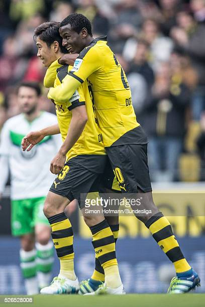 Adrian Ramos of Dortmund celebrates his team's second goal with team mate Shinji Kagawa during the Bundesliga match between Borussia Dortmund and VfL...