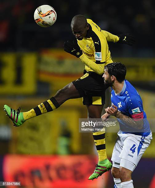 Adrian Ramos of Dortmund jumps for a header with Aytac Sulu of Darmstadt during the Bundesliga match between SV Darmstadt 98 and Borussia Dortmund at...