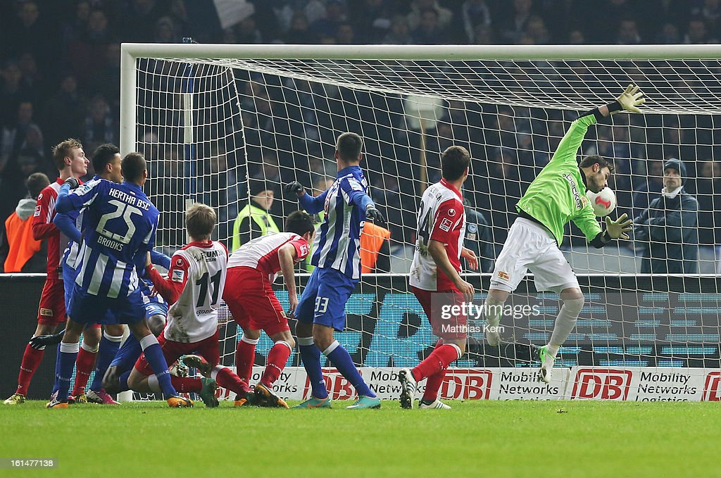 Adrian Ramos (L) of Hertha scores the third goal during the Second Bundesliga match between Hertha BSC Berlin and 1.FC Union Berlin at Olympic Stadium on February 11, 2013 in Berlin, Germany.