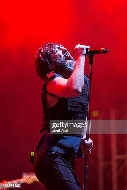 Adrian Rodriguez of Babasonicos performs on stage for Bime 2014 at Bilbao Exhibition Centre on November 1 2014 in Bilbao Spain