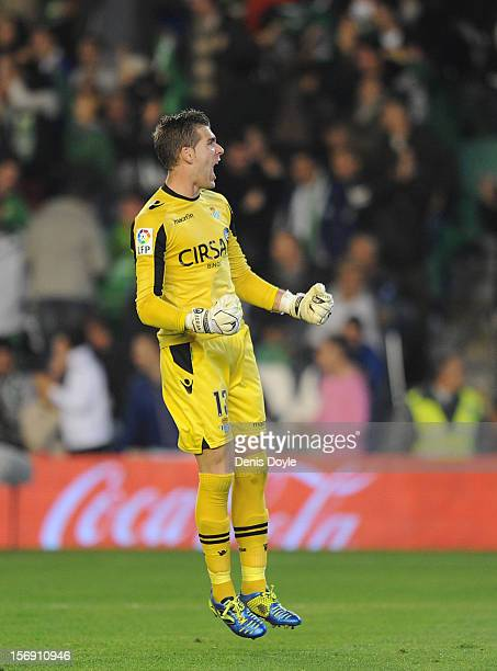 Adrian San Miguel of Real Betis Balompie celebrates after his team scored a goal during the La Liga match between Real Betis Balompie and Real Madrid...