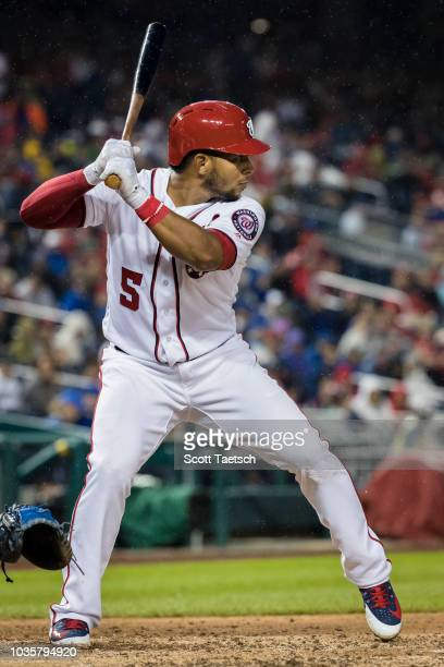 Adrian Sanchez of the Washington Nationals at bat against the Chicago Cubs during the seventh inning of game one of a doubleheader at Nationals Park...