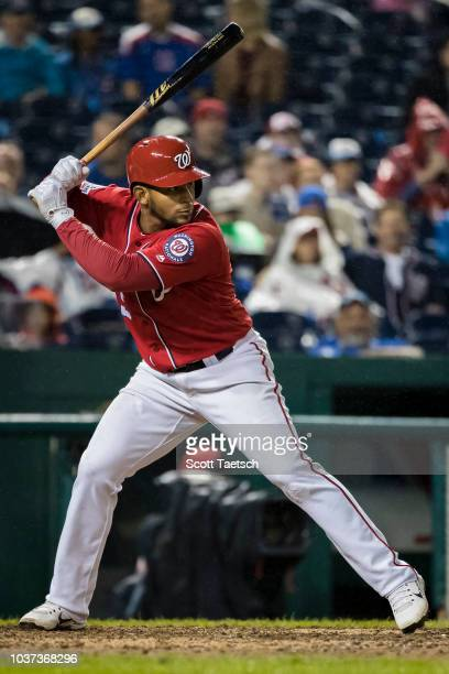 Adrian Sanchez of the Washington Nationals at bat against the Chicago Cubs during the seventh inning of game two of a doubleheader at Nationals Park...