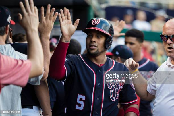 Adrian Sanchez of the Washington Nationals celebrates after scoring against the Chicago Cubs during the fifth inning at Nationals Park on September...