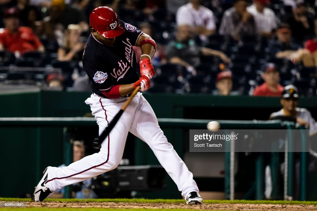 Adrian Sanchez #5 of the Washington Nationals grounds out during the eighth inning at Nationals Park on May 1, 2018 in Washington, DC.