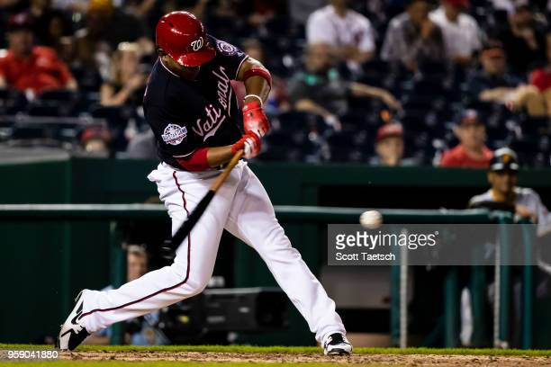 Adrian Sanchez of the Washington Nationals grounds out during the eighth inning at Nationals Park on May 1 2018 in Washington DC