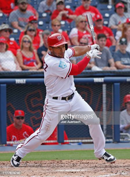 Adrian Sanchez of the Washington Nationals hits the ball against the St Louis Cardinals during a spring training game at The Fitteam Ballpark of the...
