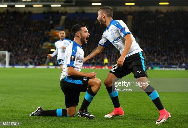 Adrian Sardinero of Apollon Limassol celebrates after he scores his isdes first goal during the UEFA Europa League group E match between Everton FC...