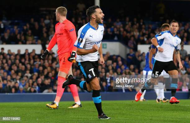 Adrian Sardinero of Apollon Limassol celebrates after scoring his sides first goal during the UEFA Europa League group E match between Everton FC and...