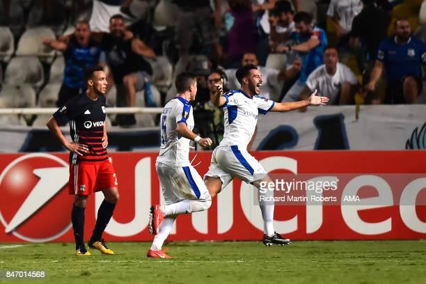 Adrian Sardinero of Apollon Limassol celebrates scoring a goal to make the score 1-1 during the UEFA Europa League group E match between Apollon...