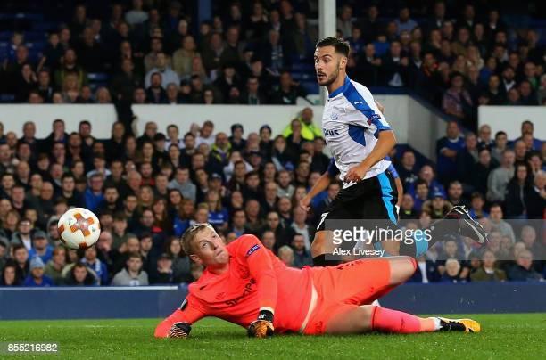 Adrian Sardinero of Apollon Limassol scores his isdes first goal during the UEFA Europa League group E match between Everton FC and Apollon Limassol...