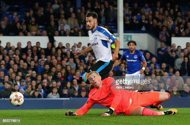Adrian Sardinero of Apollon Limassol scores his sides first goal during the UEFA Europa League group E match between Everton FC and Apollon Limassol...