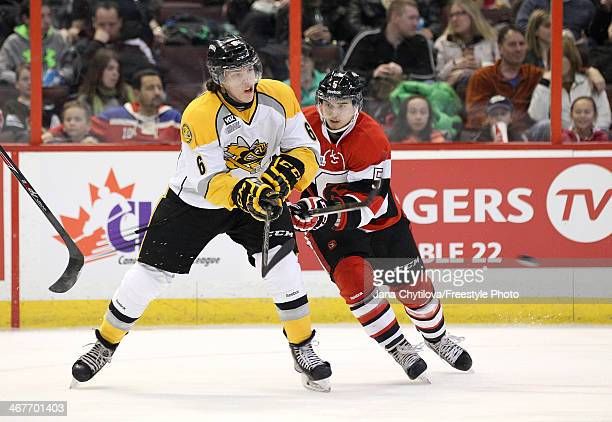 Adrian Sloboda of the Ottawa 67's skates against Noah Bushnell of the Sarnia Sting during an OHL game at Canadian Tire Centre on February 7 2014 in...